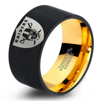 Oakland Raiders Ring Mens Fanatic NFL Sports Football Boys Girls Womens NFL Jewelry Fathers Day Gift Tungsten Carbide 360-Y