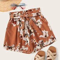 Self Tie Floral Print Shorts