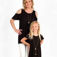 Mother/Daughter Black Colored Cold Shoulder Top - Mother