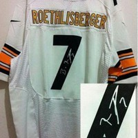 PEAPNO Nike Steelers #7 Ben Roethlisberger White Men's Embroidered NFL Elite Autographed Jers