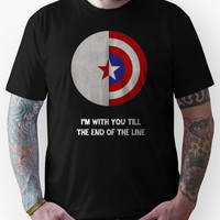 Cap and Bucky White Text Unisex T-Shirt