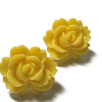 Yellow Rose Flower Post Earrings Silver hand made by frutti Tutti Bead candy