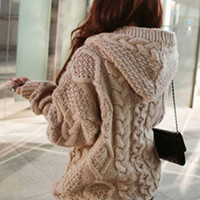 Twist Pattern Hooded Knitted Jacket