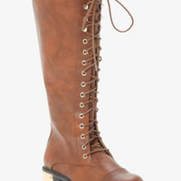 Lace-Up Tall Combat Boots (Wide Width)
