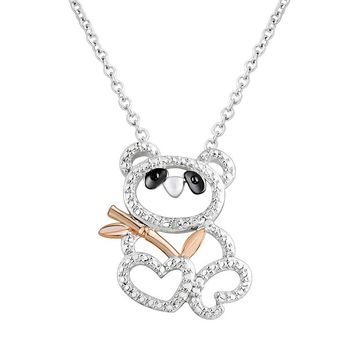 Two Hearts Forever One Sterling Silver Two Tone Bear Pendant Necklace (White)
