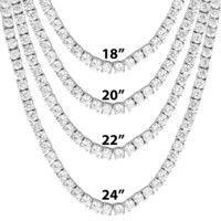 "Men's One Row  4mm 18""-24"" Tennis Rapper Necklace"