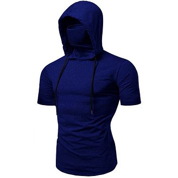 Men T-shirt Fashion Hooded Summer Sleeveless T-shirt Vest Men's Mask Pure Color Pullover Tees Shirt Male Muscle Tops Camiseta