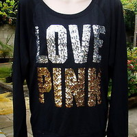 """NWT VICTORIA SECRET """"LOVE PINK"""" Gold Silver Sequin Bling Black T-Shirt M NEW"""