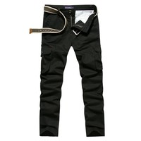 Spring Autumn Hot Cargo Pants Men Solid Casual Multi-pocket Military Tactical Trousers Men