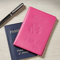 Personalized Pink Leather Passport Covers