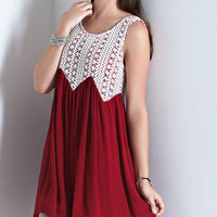 Crimson Tinkerbell Dress-Crochet Bodice-Entro-Crimson Color