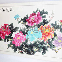 vintage Chinese Scroll Painting...hand painted Peonies