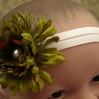Baby Infant New Born Girl Headband Flowers and Pearl