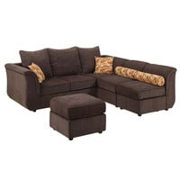 Kaman Sectional Sofa with Ottoman Upholstered in Chocolate | Overstock.com Shopping - The Best Deals on Sectional Sofas