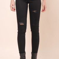 Flying Monkey Distressed Black Skinny Jeans