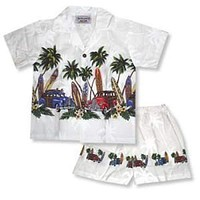 surf white boy hawaiian border cabana set