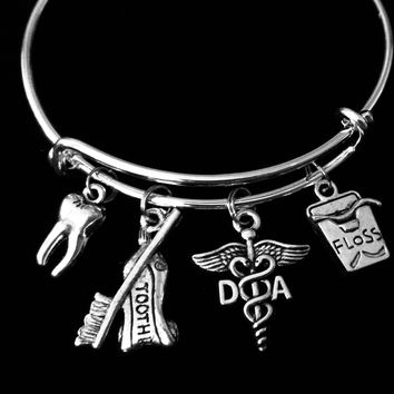 Dental Assistant Jewelry DA Expandable Charm Bracelet Silver Tooth Floss Toothpaste Toothbrush Adjustable Wire Bangle One Size Fits All Gift