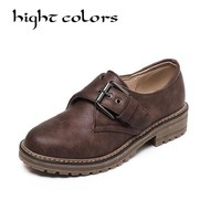 3 Colors Preppy Retro Oxford Buckle Brogues Womens Block Heels Slip On Shoes Fashion England Style Flat Oxfords Women