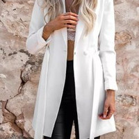 Fashion 2016 Trending Fashion Strappy Solid Button Business Casual Suit  Sweater Cardigan Coat Jacket Outerwear Windbreaker _ 9500