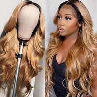 MEDUSA BEAUTY BOUTIQUE HUMAN HAIR WIGS: PRE PLUCKED LACE FRONT HIGHLIGHT BODY WAVE HONEY BLONDE