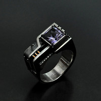 "Industrial Steampunk Silver Ring  ""Agererendum"" with Amethyst"