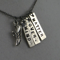 MIND OVER MATTER Running Shoe Necklace - Running Jewelry - Motivational / Inspirational Necklace on 18 inch gunmetal chain