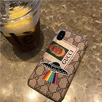 Apple X phone case iPhone 7plus cover 6s hard case ufo embroidery Fashion Men and Women