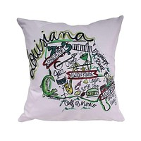 Louisiana Roadmap Duck Cloth and Burlap Pillow by Southern Roots