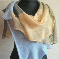 Linen Scarf Shawl Wrap Beige Brown Gray Striped Stole Light