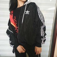 Adidas Women Hooded Zipper Sweatshirt Jacket Coat
