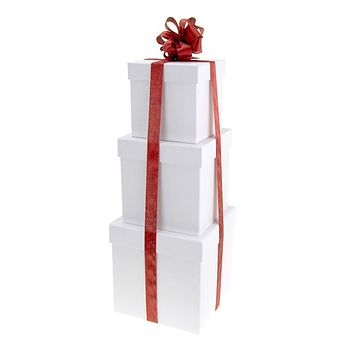 Holiday White Square Nested Gift Boxes, 5, 6 and 7-Inch, 3-Piece