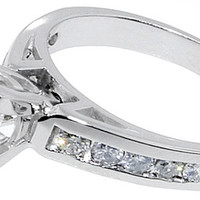 2 ct. princess antique look anniversary RING solid White gold 18K gold DIAMOND
