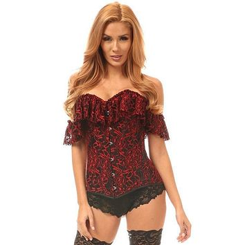 Daisy Corsets Lavish Black & Red Lace Off-The-Shoulder Corset