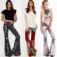 Stylish Womens Flared Legged Palazzo Bell Bottom Boho Pants Stretch High Waist