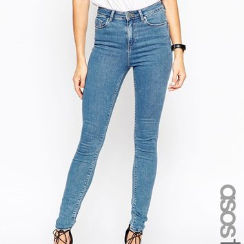 ASOS TALL Ridley High Waist Ultra Skinny Jeans in Birch Wash
