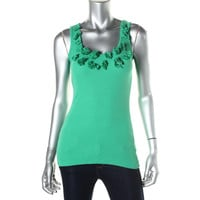 INC Womens Ribbed Knit Embellished Tank Top