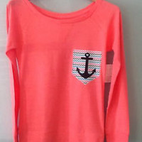 Chevron Zigzag Printed Pocket w/ Anchor Pink Shirt Size SMALL