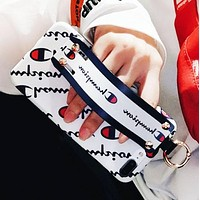 Champion New fashion more letter print couple wrist band protective cover phone case White