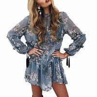 Women's Sky Blue BOHO Long Sleeve Floral Print Tassel Chiffon Dress Slightly Sheer Great Layering Piece