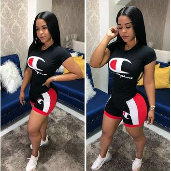 Champion Summer Fashion Woman Casual Print Short Sleeve Top Shorts Set Two Piece black