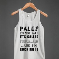 pale?i'm not pale it's called porcelain tank top-JH-White Tank