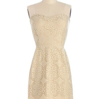ModCloth Mid-length Strapless Shift Now That's Classy Dress