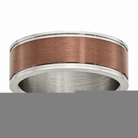 Men's Titanium Grooved Edge Chocolate IP-plated Brushed Wedding Band Ring: RingSize: 10