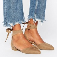 New Look Suedette Ankle Tie Point Shoe at asos.com