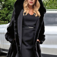 Black Hooded Long Sleeve Faux Fur Coat