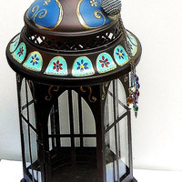 Moroccan Candle Lantern Hand Painted Indian Bohemian Hippie Decor FREE SHIPPING