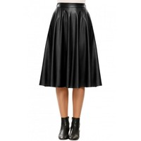 Elastic Waist Synthetic Leather Calf Pleated Solid Skirt