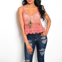 Crochet Crop Top in Coral