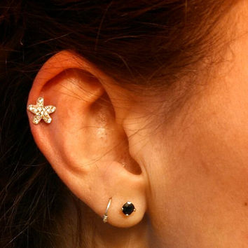 Tiny Crystal Starfish 316L Surgical Steel Cartliage Earring Tragus Helix Piercing