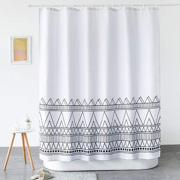 LanMeng Standard Fabric Shower Curtain, Elegance Luxury for Bathroom, Boho Striped Chevron, Black Grey White, Machine Washable, 72-by-72 inches 72-by-72 inches (standard)